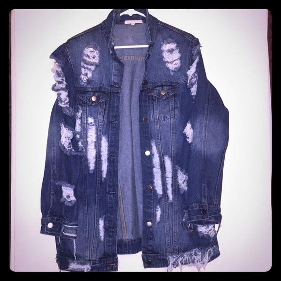 Hot And Delicious Jackets Coats Artsy Distressed Jean Jacket